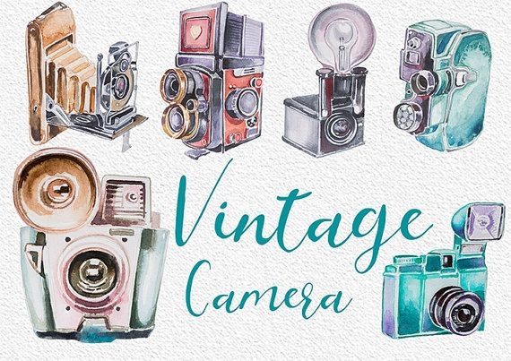 Watercolor Vintage Camera Cliparthandpainted Clipartwedding Etsy Vintage Camera Vintage Cameras Clip Art