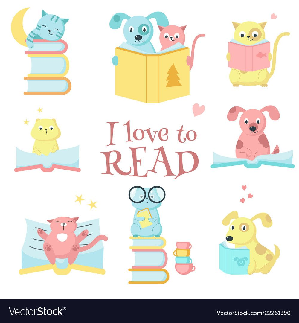 Cute Pet Animals With Books Icon Set And I Love To Read Handwritten Quote Vector Illustration Of Funny Cats Animal Book Animal Illustration Kids Cute Animals