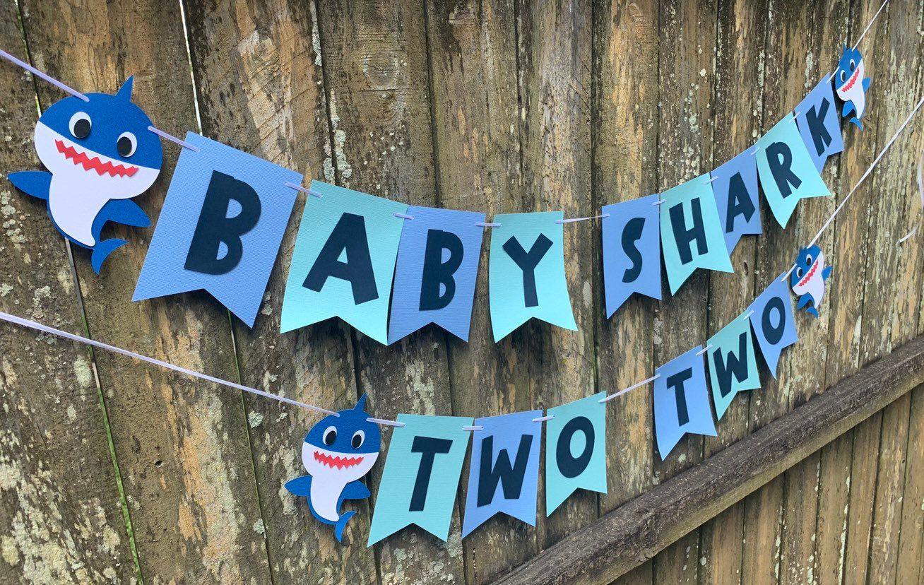 Two Baby shark birthday banner Baby shark banners,photo banner,ONE baby shark  birthday banner cake smash banner,