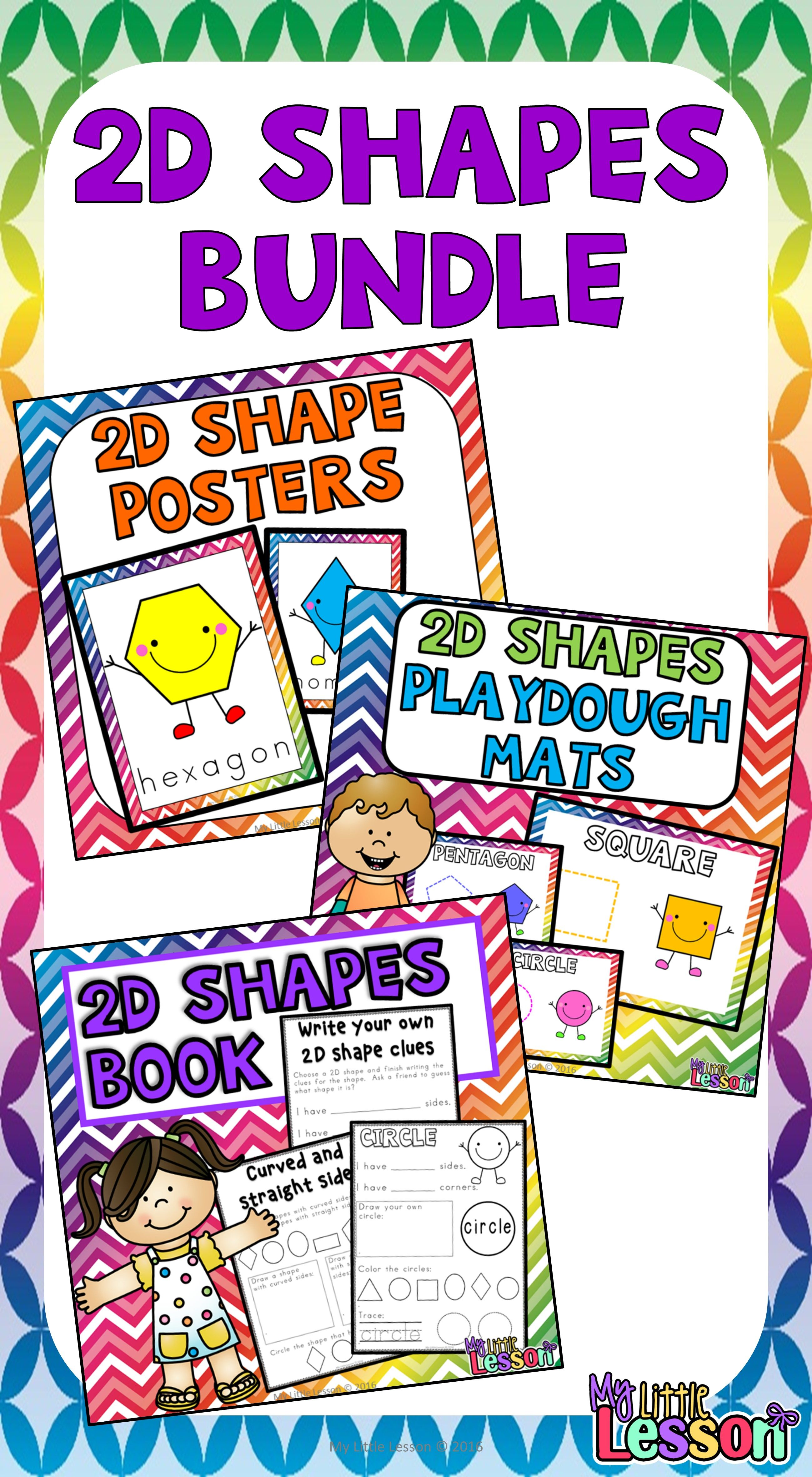 2d Shapes Bundle Worksheets Posters Playdough Mats