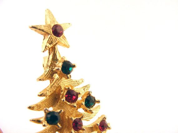 Vintage Mylu Christmas Tree Brooch Pin Rhinestone by www.TidBitz.etsy.com