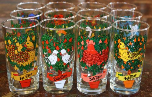 vintage 12 days of christmas glasses tumblers by indiana glass company set of 12 in pottery glass glass glassware 40s 50s 60s indiana ebay