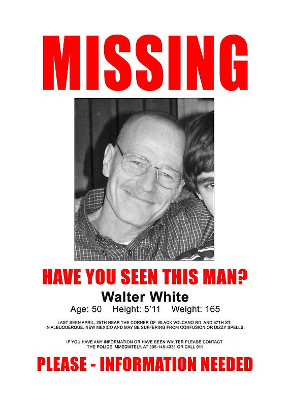 breaking bad walter white missing t shirt and poster posters