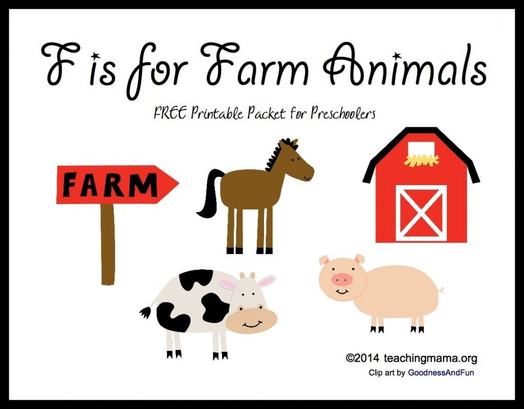 F Is For Farm Animals Letter F Printables