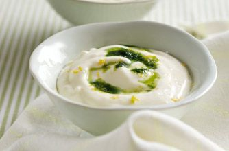 Phil Vickery's lemon posset - serve with crushed ginger nut biscuits on the top