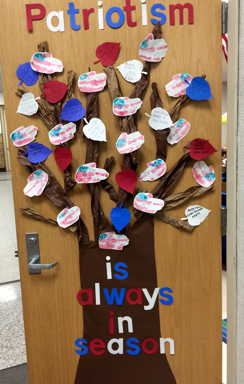 Veterans Day Classroom Door Decoration Ideas : Patriotic door decoration for veteran s day parents sent