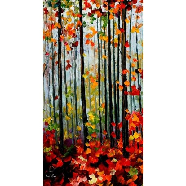 Falling leaves by Leonid Afremov by Leonidafremov ❤ liked on Polyvore featuring home, home decor and canvas home decor