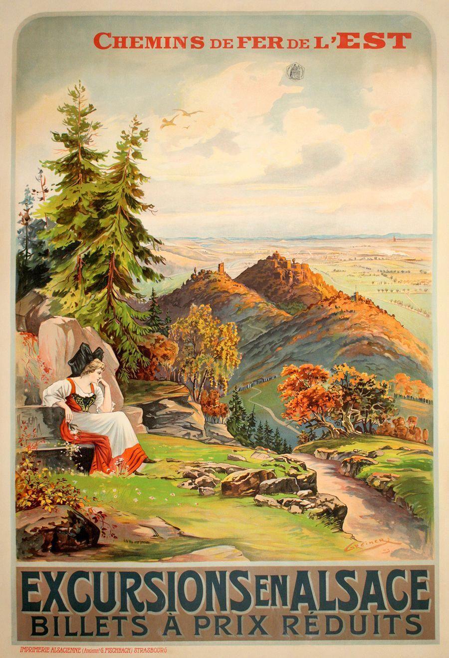 ALSACE BY TRAIN vintage travel poster CHEMINS DE FER DE L/'EST castle 24X36