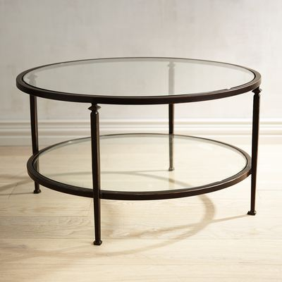 Our Lincoln Round Coffee Table Has A Slender Bronze Wrought Iron Frame And Clear Tempered Gla Mirrored Coffee Tables Glass Top Coffee Table Coffee Table Wood