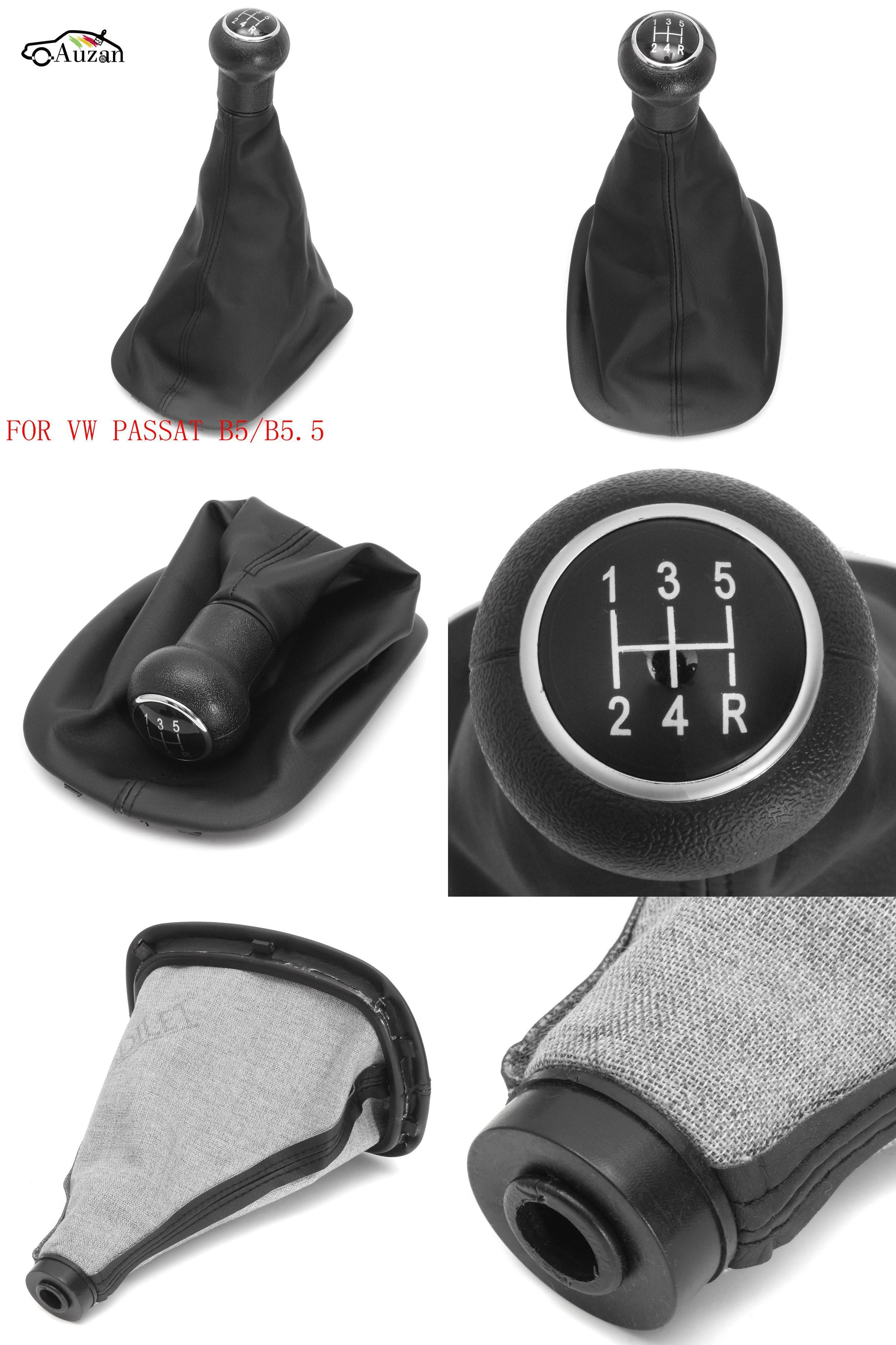 Black Leather 5 Speed Gear Shift Knob Cover Gaitor Boot For VW PASSAT B5 New