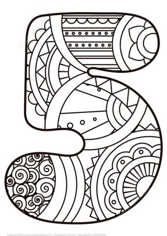 Número 5 Zentangle Dibujo para colorear. Categorías: Números ...