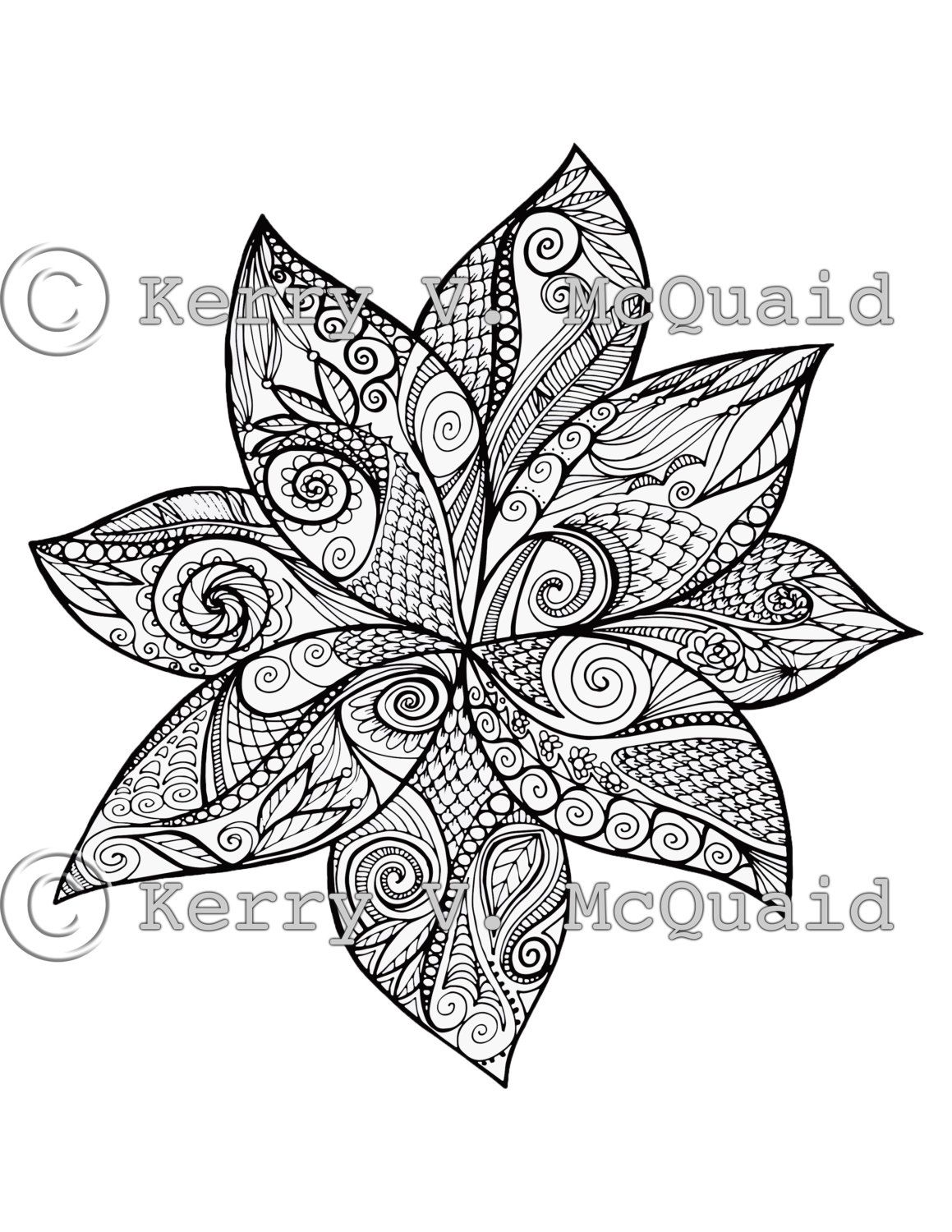 Instant PDF Download Coloring Page Hand Drawn Zentangle ...