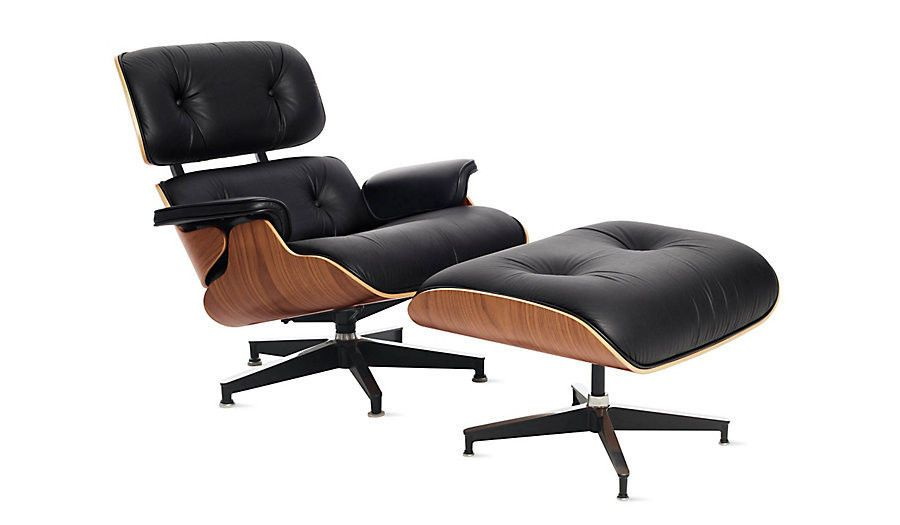 Herman Miller Eames Lounge Ottoman Black Vicenza Leather Walnut