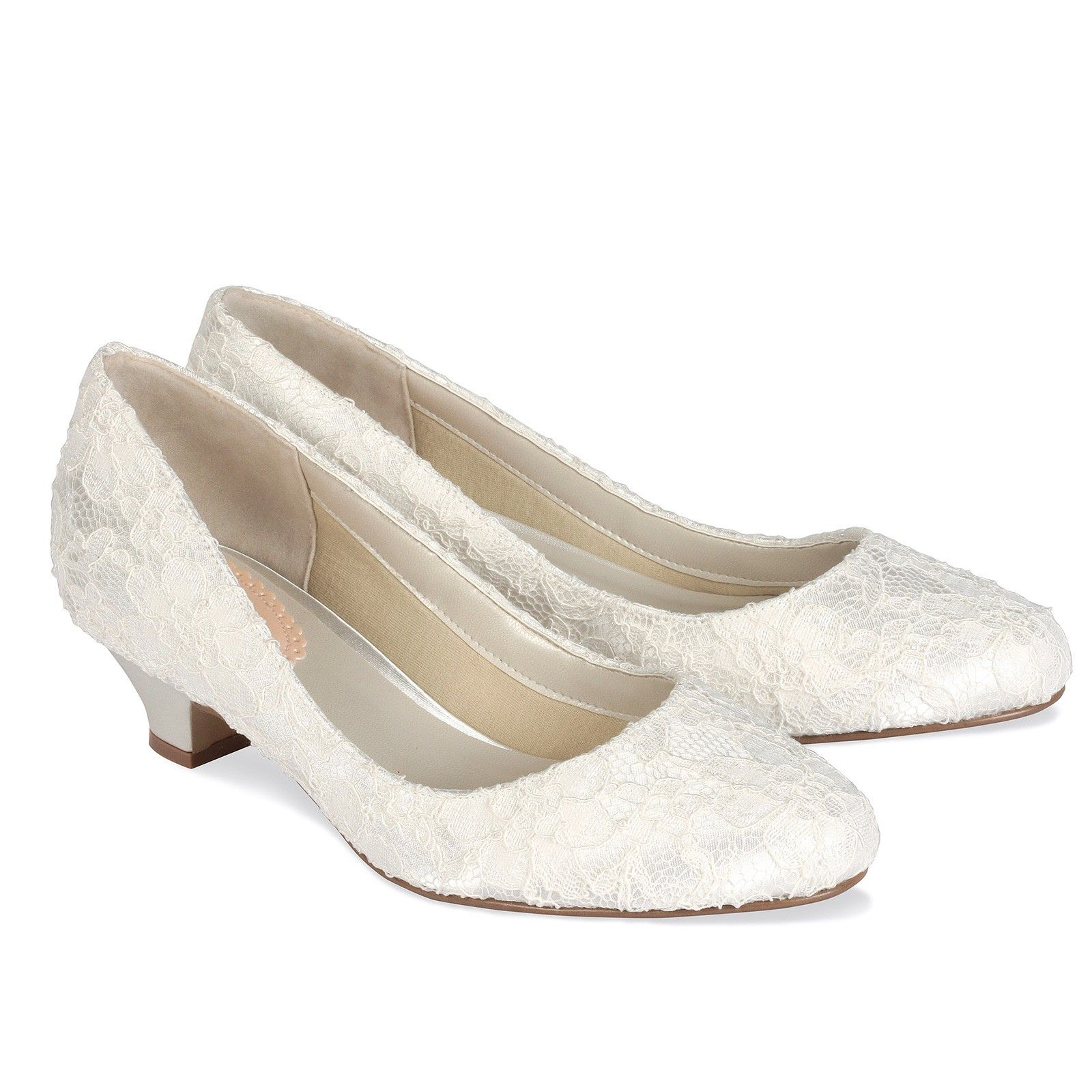 The Ivory Satin Lace Bon Is A Low Heel Round Toe Court