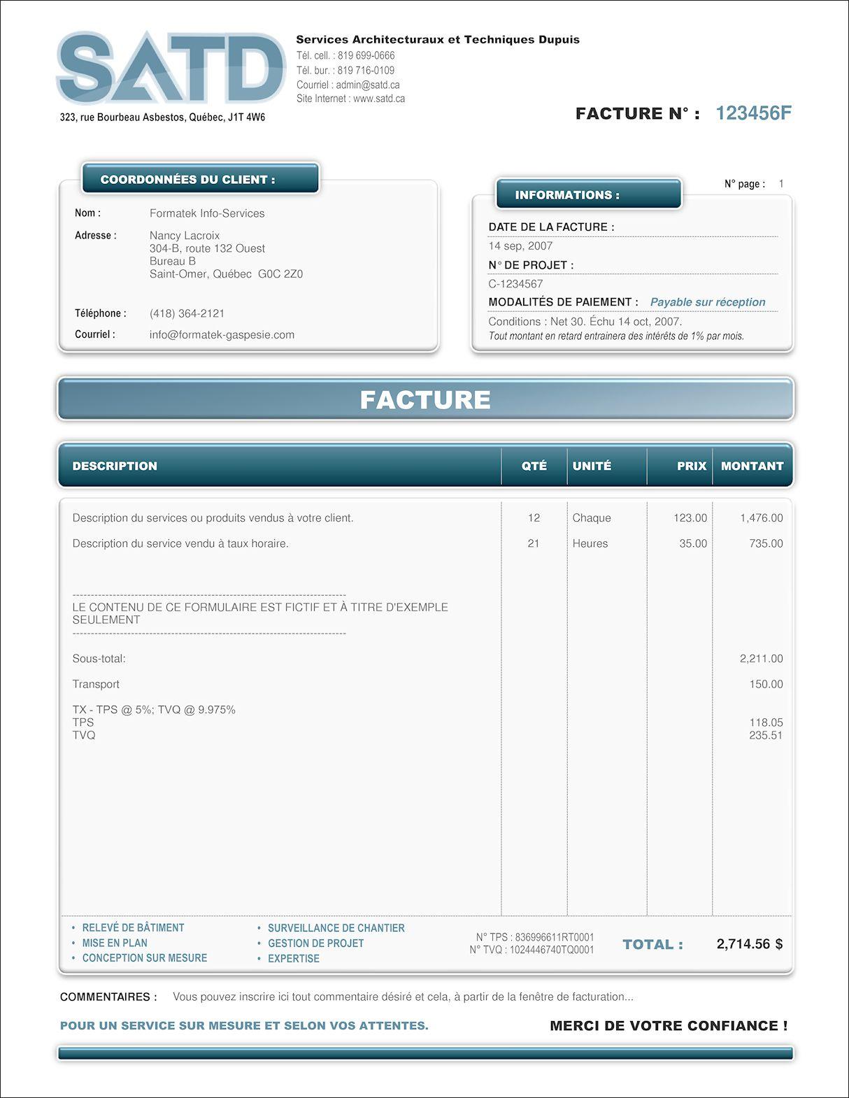 Modele Facture Quebec Word Document Online Modele Facture Modele De Facture Gratuit Modele Facture Excel