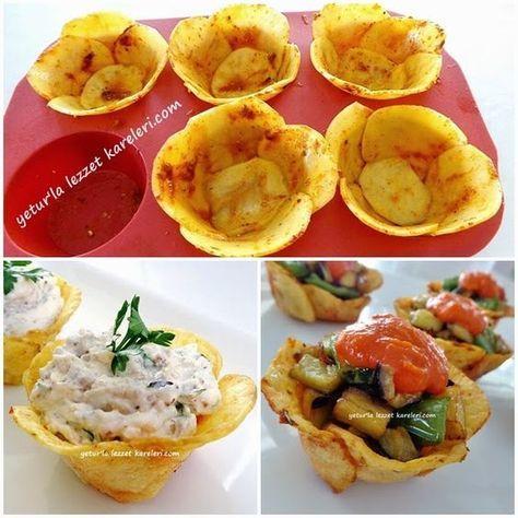 yetur'la lezzet kareleri: çiçek pat ates çanaklarında peynir ezmesi ve ajvar soslu şakşuka #طعام