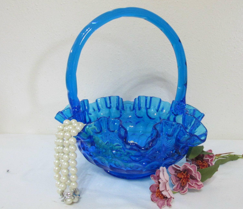 Fenton Basket Blue Thumbprint Art Glass by LuRuUniques on Etsy
