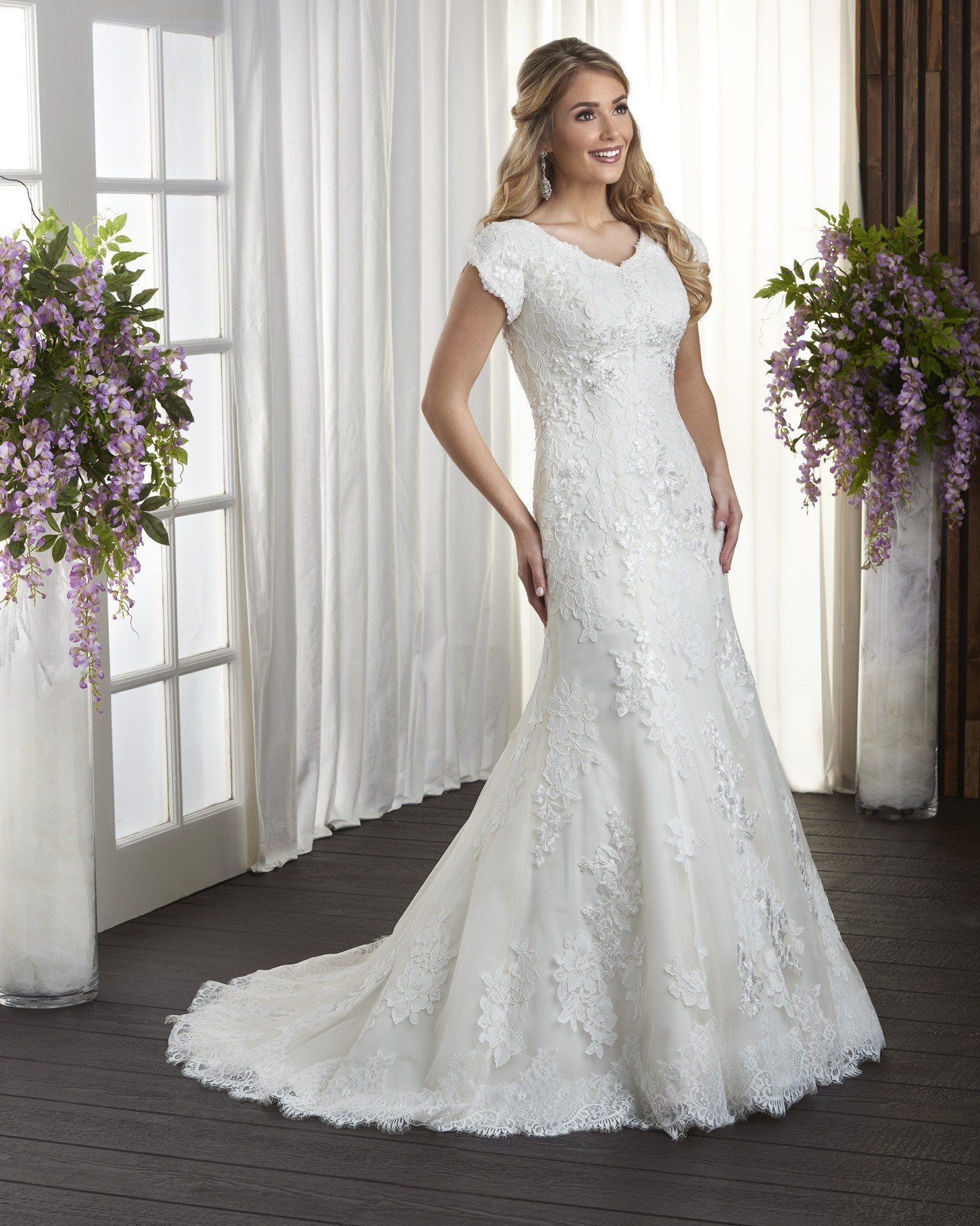 39b43764bc20 Bridal Gown, Fit'n Flare, Lace, V-Neck, Tulip Sleeves, Optional Detachable  Train/Veil, Modest, Temple Ready Wedding Gown,