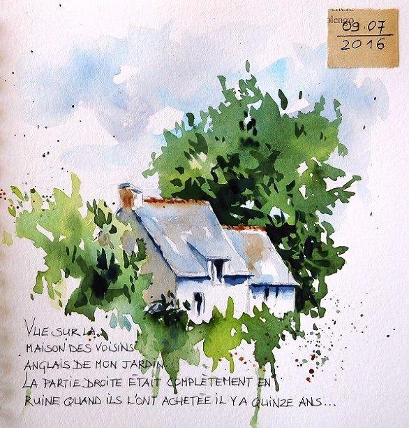 Vieille Grange Old Barn Paysage Aquarelle Croquis De Paysage