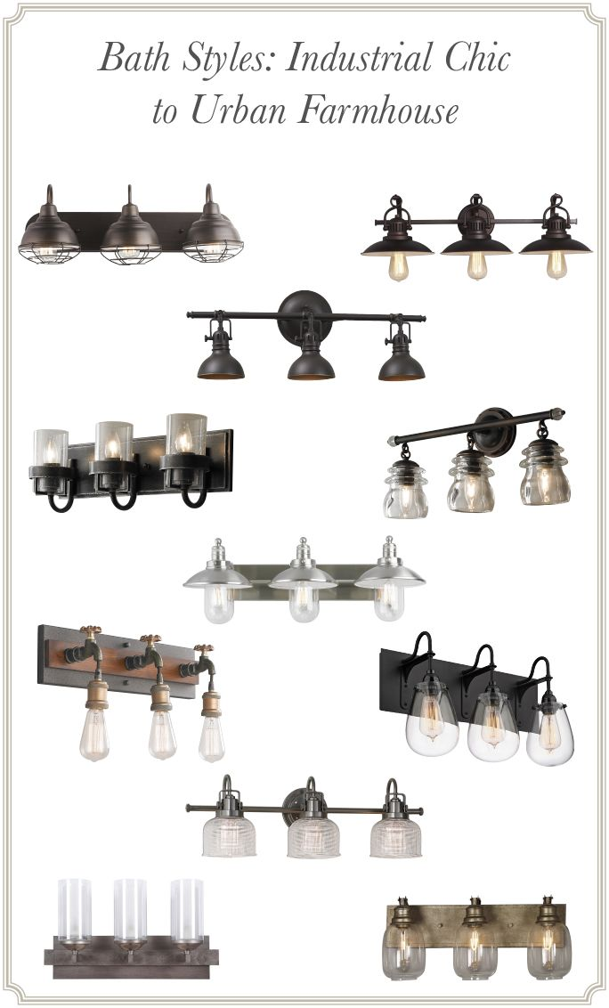Bathroom Lighting Fixtures Under $100 bath styles: industrial chic to urban farmhouse | industrial chic