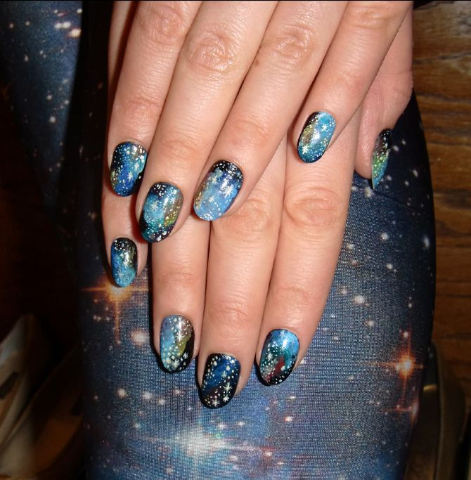 Universe Nail Art Use Sponge Technique And A White Nail Pen To Try