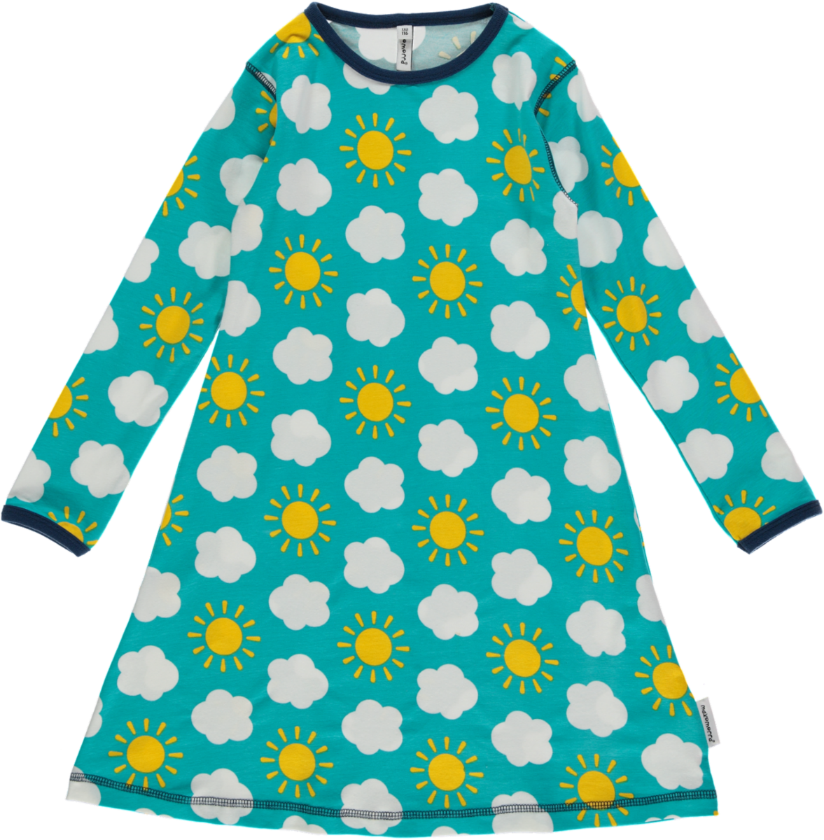 Great sunny sky print dress with long sleeves made for kids out of