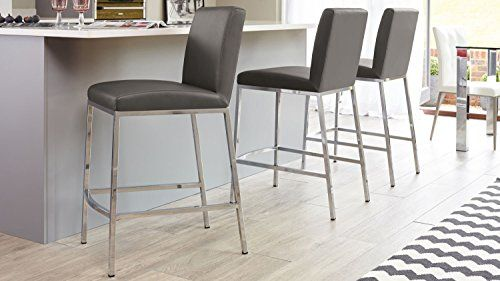 670mm and Putty Grey Faux Leather Teora Bar Stool