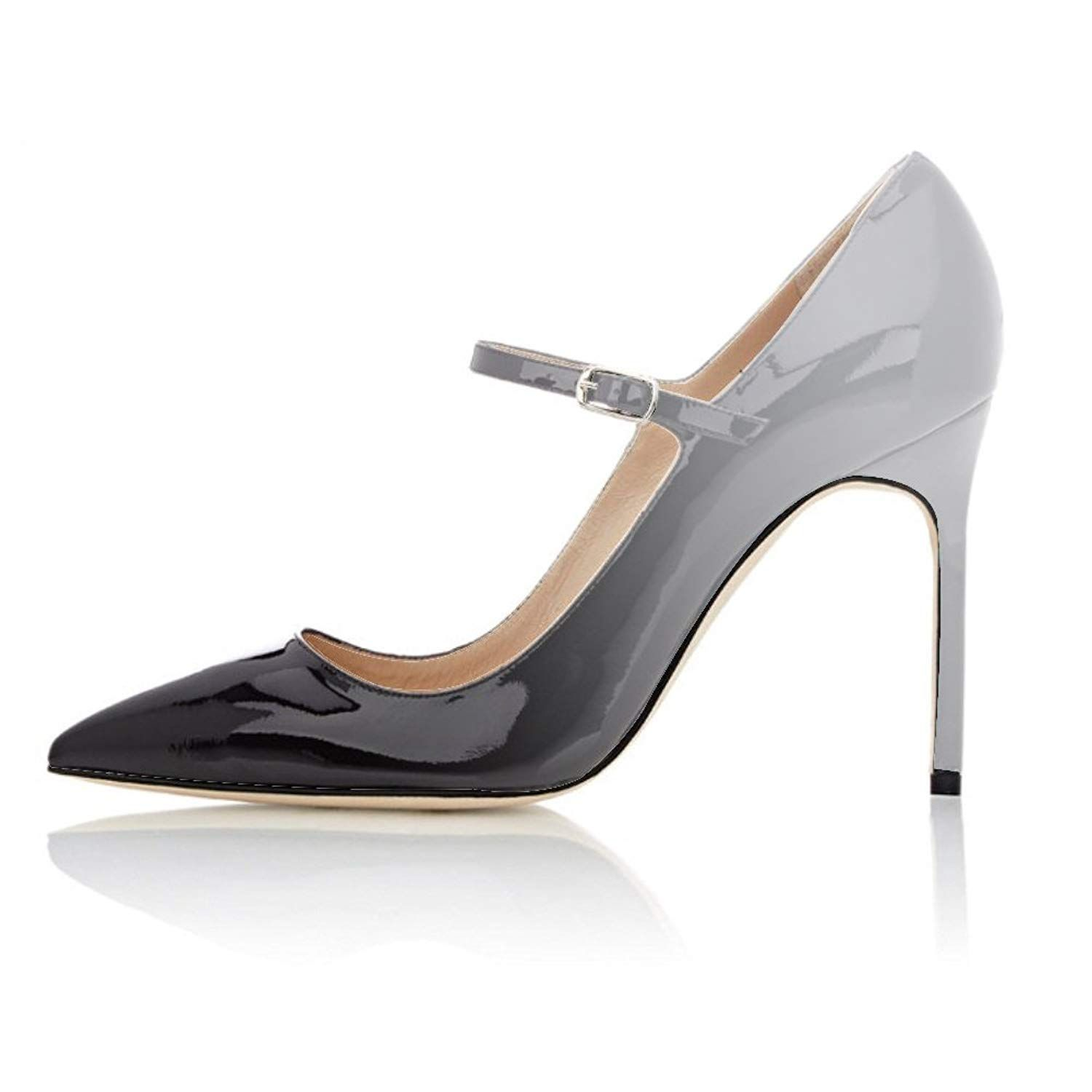 e849656f98f Eldof Women s 100mm High Heel Pointed Toe Mary Jane Pumps Ankle Strap  Buckle Closure Shoes.