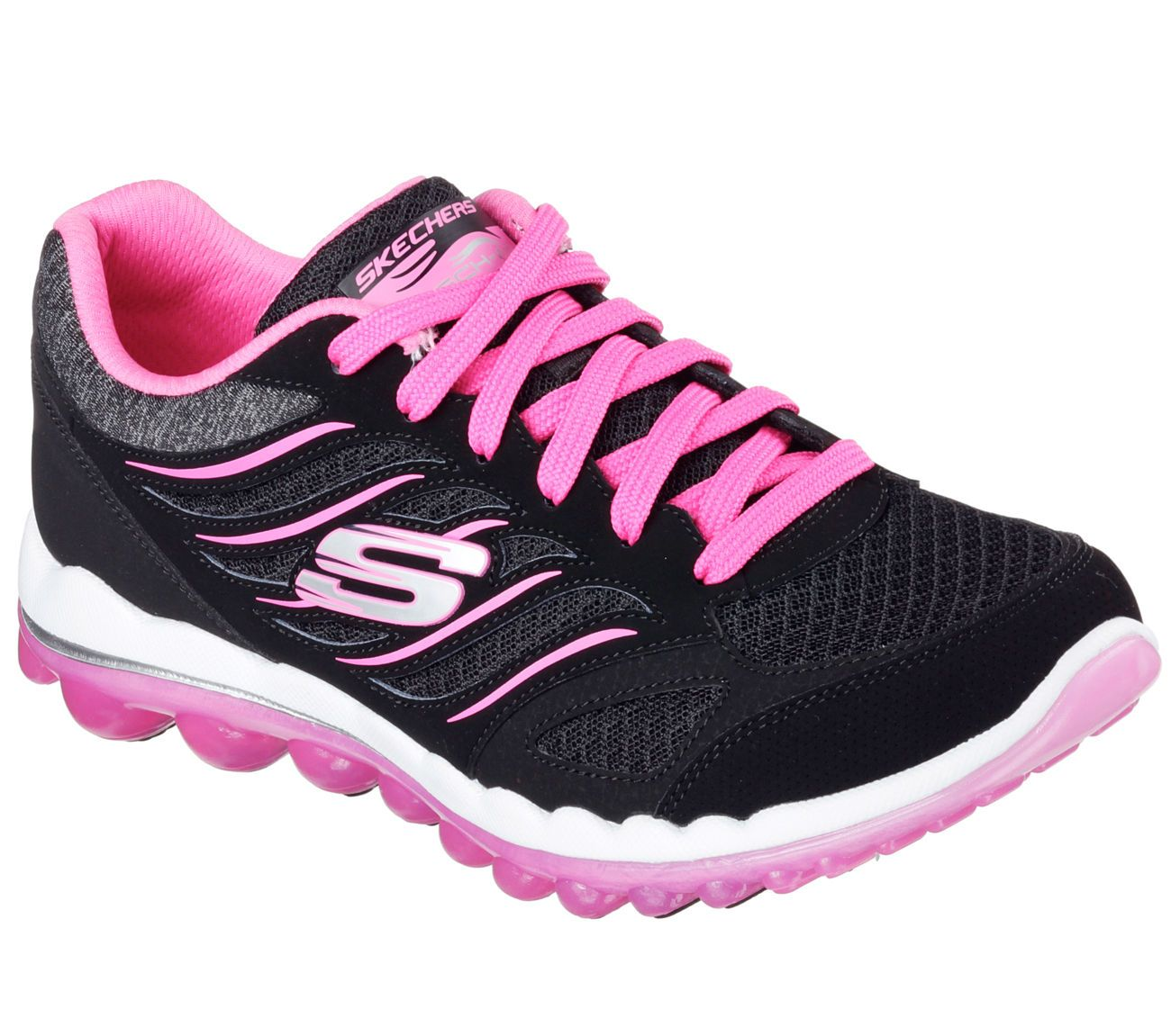 12210 Black Pink Skechers Shoes Memory Foam Women Mesh Sport Air Cushion  Comfort