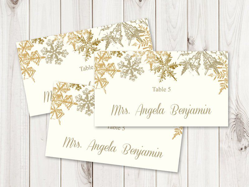 Winter Wedding Place Card Template Snowflakes Gold Flat Christmas Placecar Wedding Place Card Templates Place Card Template Printable Place Cards Wedding