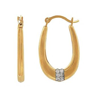 Oval Hoop Earrings with Crystals in 14K Yellow Gold