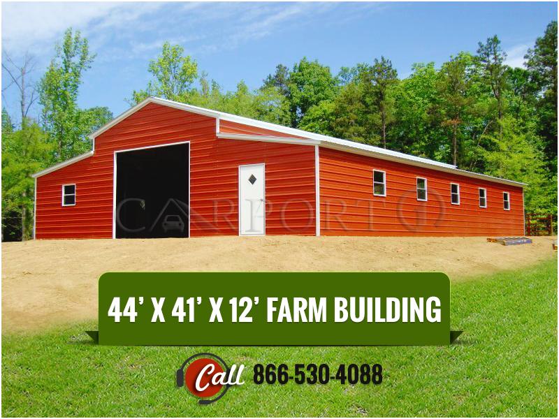 This 44 X 41 X 12 Metal Barn Includes 1 10 X 10 Garage Door 1 36 X 80 Walk In Door And 10 30 X Metal Farm Buildings Farm Buildings Steel Barns