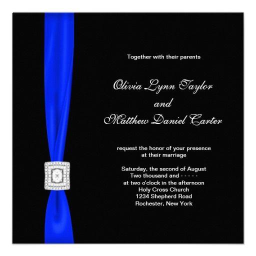 Royal Blue Black Wedding Custom Announcements