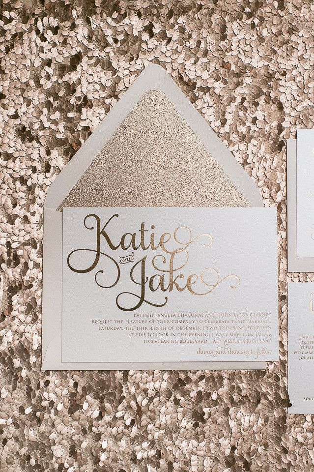 Rose gold wedding invitations Rose gold foil Rose gold glitter