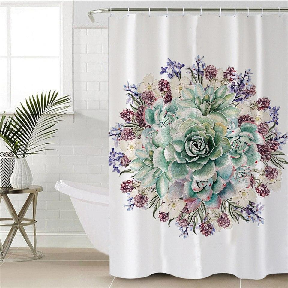 Green Succulent Shower Curtain With Hooks Curtains Tropical