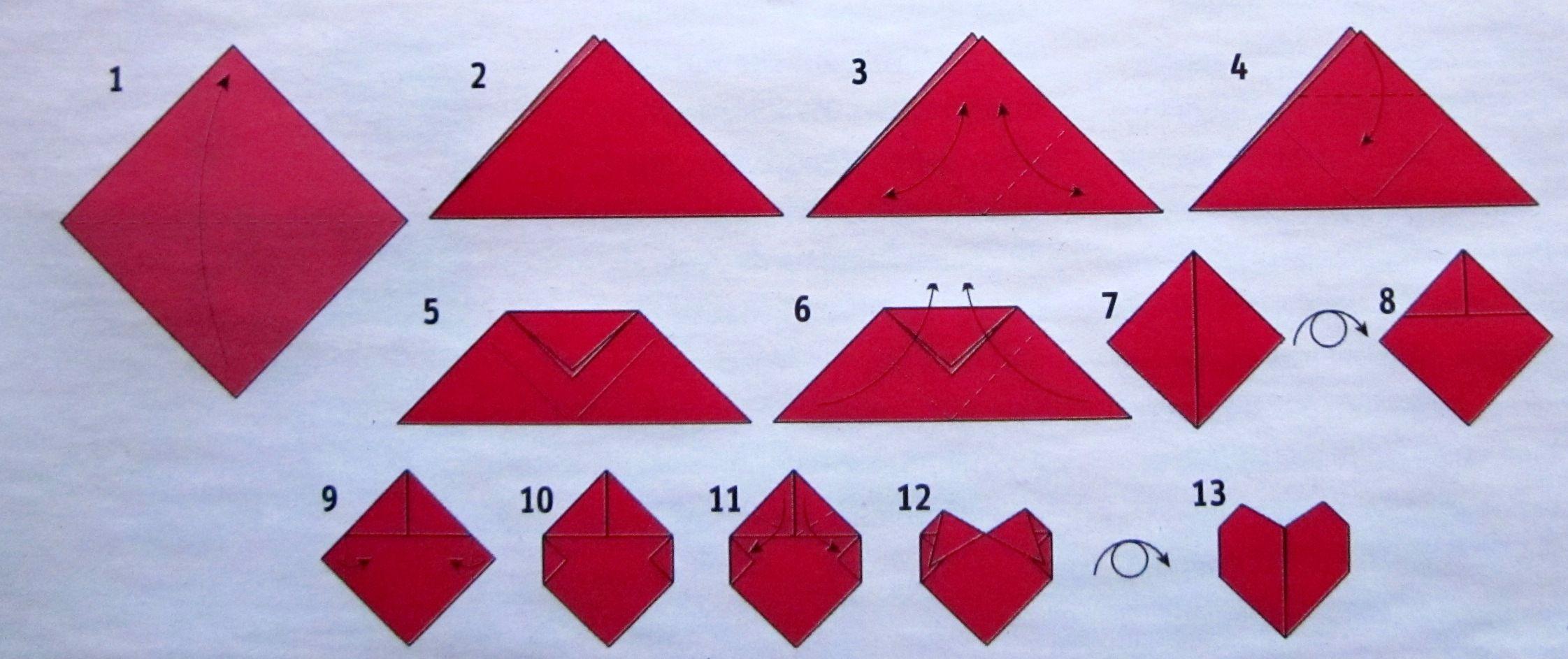 Origami: Faltanleitung für ein Herz   Faltblatt, Origami und Ein herz