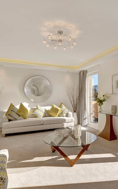 Beautiful Peaceful Living Room With Classy Beige Yellow Pallet Colors And Luxurious Accessories On