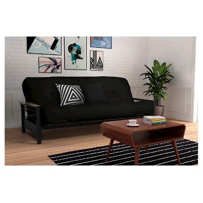 Nadine Metal Futon Frame with Wood Armrests - Espresso/Black - Dorel ...