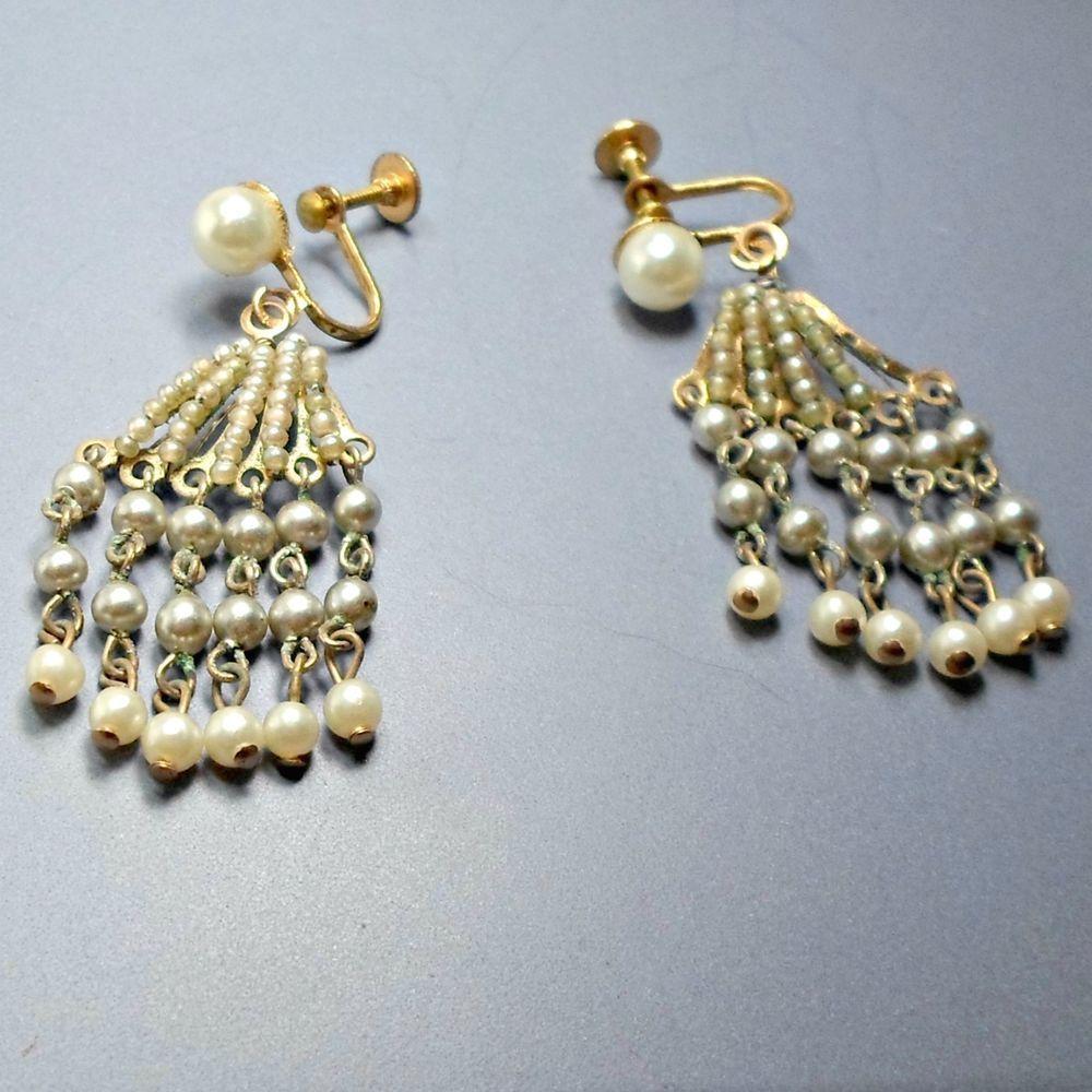 Chandelier earrings golden screwback vintage faux pearl chains chandelier earrings golden screwback vintage faux pearl chains seed pearls unbranded chandelier arubaitofo Gallery
