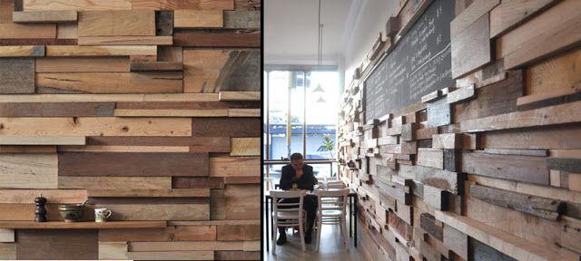 Pared de madera reciclada Ideas para la oficina Pinterest
