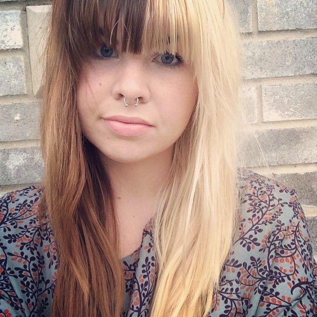Madison Taylor On Instagram Splitdye Halfandhalf Septum Girlswithpiercings Ifeelpretty Split Dyed Hair Half And Half Hair Brown Hair Dye