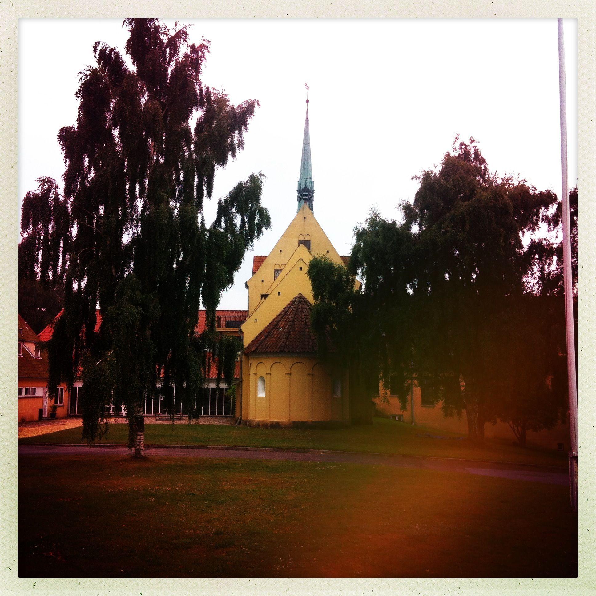 Her ses skolens indgangsparti med kirken i forgrunden bag de gamle birketræer.