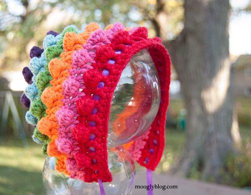 Blackberry Salad Striped Baby Bonnet | Gorros, Patrones de crochet y ...