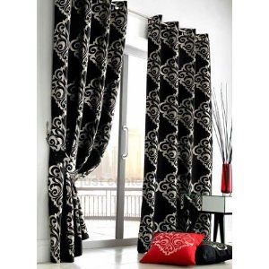 Black Silver Damask Designer Eyelet Lined Curtains 55 X 90 Amazon Co Uk Kitchen Home 54 99 Cortinas Lindas Cuartos De Mujer Decoracion De Unas