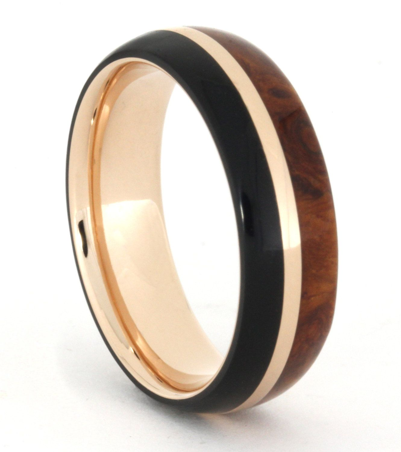 14k Rose Gold Ring With African Blackwood And Amboyna Burl Wood Wedding Band: African Wood Wedding Rings At Reisefeber.org