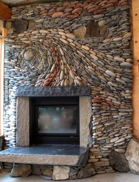 """Absolutely incredible fireplace inspired by Van Gogh's """"Starry Night"""""""