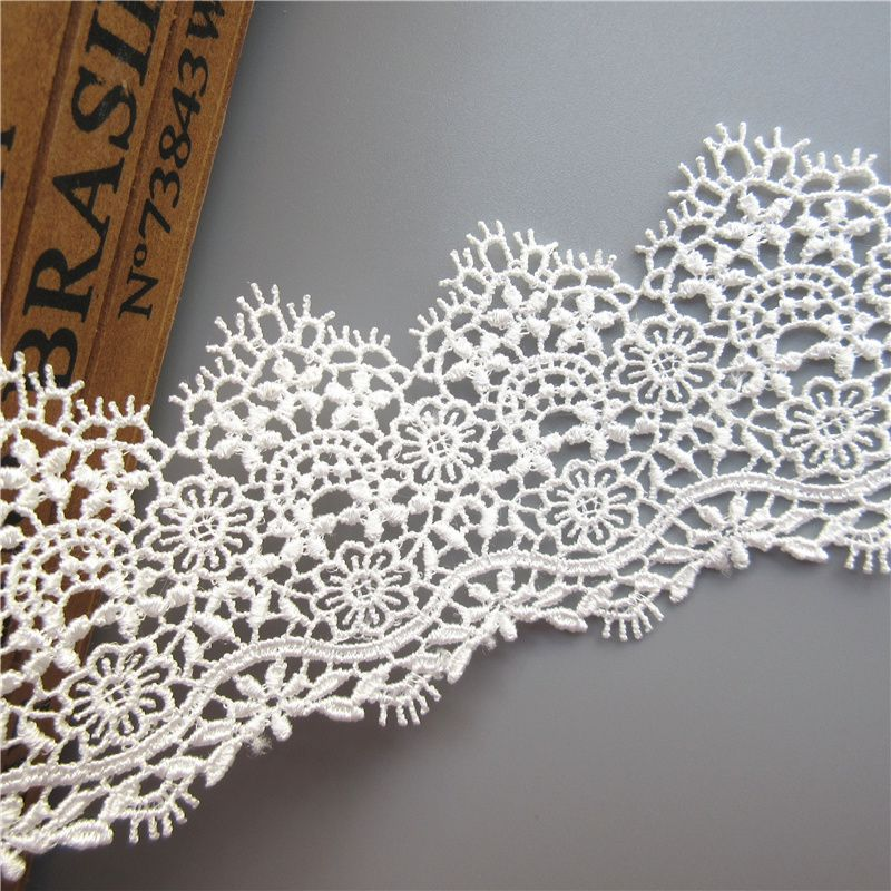 1Yard Black Leaf Embroidered Lace Edge Trim Ribbon Wedding Applique Sewing Craft