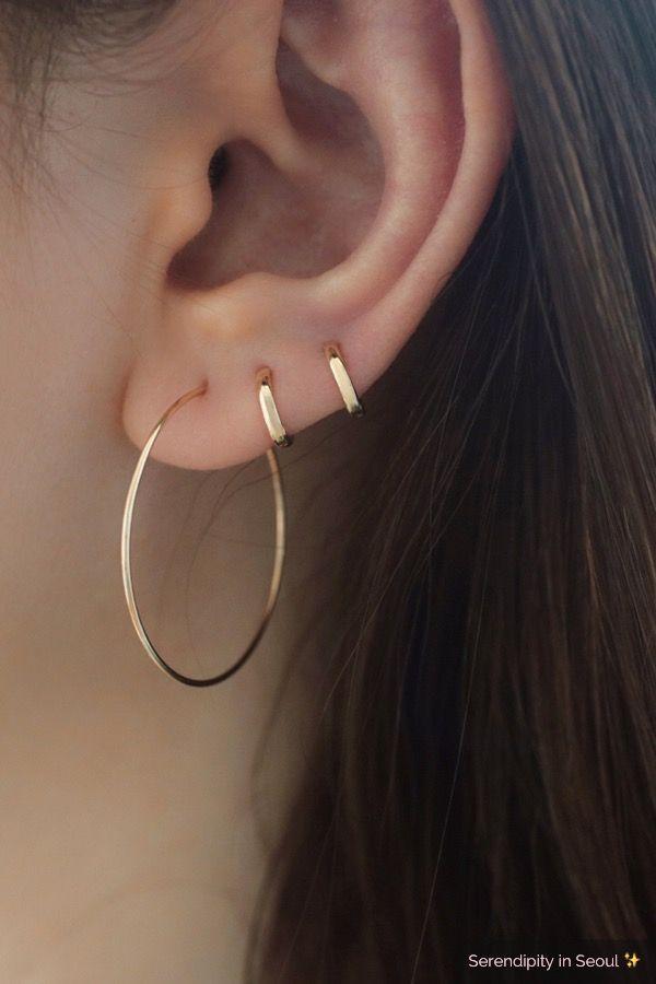 1830d8adf1226 Tiny Wide Huggie Hoop- 14K Gold in 2019 | Jewelry | Ear piercings ...