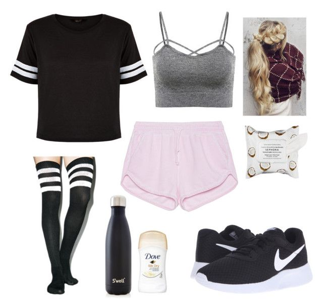 """Gym"" by tumblrstylemargs ❤ liked on Polyvore featuring New Look, NIKE, Leg Avenue, S'well, Sephora Collection and True Religion"