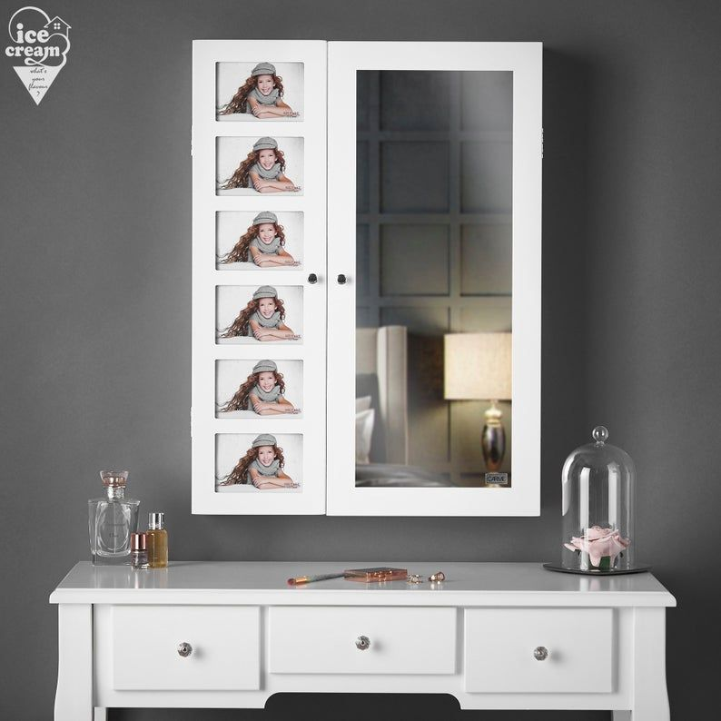 Harper Wall Mounted Desktop White Jewellery Mirror Cabinet With Internal Led Lights Photo Frame Bedroom Makeup Storage Mirror Cabinets Wall Mounted Jewelry Armoire Inside Cabinets